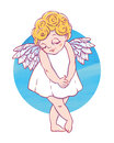 Valentine`s day. Confused Cupid-girl with watercolor circle. Vector illustration