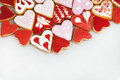 Valentine`s day cookies. Heart shaped cookies for valentine`s day.Red and Pink Heart Shaped Cookies. Valentine`s Day background. R
