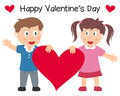 Valentine s day couple with heart a cute st valentines or saint illustration a boy and a girl holding a big red isolated on white Royalty Free Stock Image