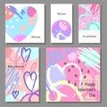 Valentine`s Day creative artistic cards set. Vector illustration.