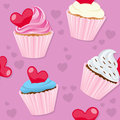 Valentine s day cupcakes seamless a pattern with st valentines or saint sweet on pink background useful also as design element for Stock Photo