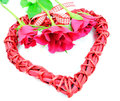 Valentine s day decoration heart and flowers isolated on white Royalty Free Stock Images