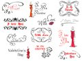 Valentine s day design elements and headers with calligraphic frames Royalty Free Stock Photos