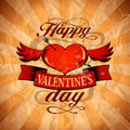 Valentine s day design in retro style with winged happy heart eps Royalty Free Stock Image