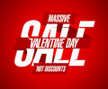 Valentine s day discounts design with ribbon red Royalty Free Stock Image