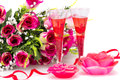 Valentine s day flowers red ribbon two glasses candles isolated on white background Stock Photo