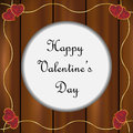 Valentine s day frame with golden ornaments and hearth gem stones on wooden background for Stock Photo