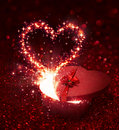 Valentine s day gift with sparkling surprise Royalty Free Stock Image