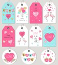 Valentine`s Day gift tags and cards. Hand drawn design elements.