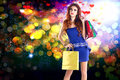 Valentine s day girl with gifts in holidays shopping Stock Image
