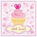 Valentine's day greeting card with cake. Stock Image