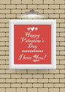 Valentine s day greeting card happy valentines design february i love you picture on a brick wall illuminated by a lamp Stock Photo