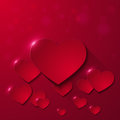 Valentine`s day greeting card with paper hearts on red background