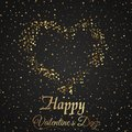 Valentine`s day greeting card with sparkles gold heart on black background. Vector