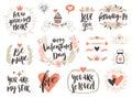Valentine`s day hand drawn calligraphy set