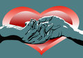 Valentine s day hands and heart men women on the background of the Stock Photography