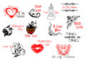 Valentine s day headers and scripts for holiday design Stock Photos