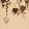 Valentine's Day and Heart chocolate on colorful background. Vector Party chocolate and full heart on colorful Background. Royalty Free Stock Photo