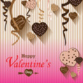 Valentine's Day and Heart chocolate Party on colorful background. Vector Valentine's Day Party Royalty Free Stock Photo