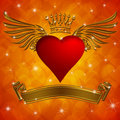 Valentine's Day Heart with Crown Wings and Banner Stock Images