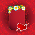 A Valentine's Day Hearts, banner and flowers Royalty Free Stock Photography