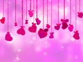 Valentine's Day with hearts on ribbons. EPS 8 Royalty Free Stock Photos