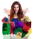 Valentine s day holiday beautiful happy girl rejoices gifts for Royalty Free Stock Photography