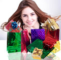 Valentine s day holiday beautiful happy girl rejoices gifts for Royalty Free Stock Images