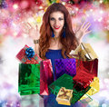 Valentine s day holiday beautiful happy girl rejoices gifts for Stock Images