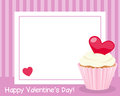 Valentine s day horizontal frame st valentines or saint photo with a red heart and a sweet cupcake on pink background eps file Royalty Free Stock Image