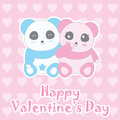 Valentine`s day illustration with cute baby boy and girl panda on love background