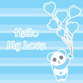 Valentine`s day illustration with cute blue panda bring heart balloons on stripes background