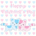 Valentine`s day illustration with cute blue and pink cats on love background