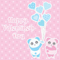 Valentine`s day illustration with cute boy and girl panda bring balloons on polka dot background