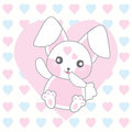 Valentine`s day illustration with cute pink rabbit on love background