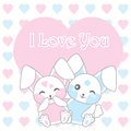Valentine`s day illustration with cute rabbits on love background