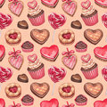Valentine s day illustrations collection seamless pattern Stock Images