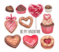 Valentine s day illustrations collection on white Royalty Free Stock Photos