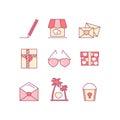 Valentine's day line icon set. Love, wedding romantic icons.