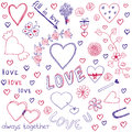 Valentine s day love hearts sketchy notebook doodles design elements Stock Photos