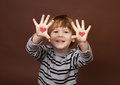 Valentine s day love hearts theme child showing picture of on palms of his hands Stock Photography