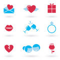 Valentine's day and Love icon collection - red Royalty Free Stock Images