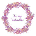 Valentine`s day love lettering postcard with purple floral ornament wreath frame. Vector circle decoration. Flowers and herbs d