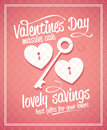 Valentine s day massive sale typographic design with key and hearts Stock Images