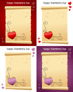Valentine s day old parchment scroll collection of scrolls for st valentines or saint in four different versions eps file Stock Photo