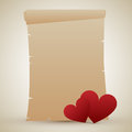 Valentine s day parchment romantic empty or old scroll with two hearts for Stock Photography