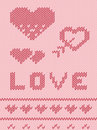 Valentine s day pink knitted background seamless pattern or card with heart and love Stock Photo