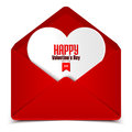 Valentine's day postcard, vector illustration of red envelope with white heart
