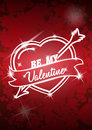 Valentine's Day poster with heart and arrow. Vector illustration