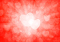 Valentine s day red hearts background bokeh Royalty Free Stock Image